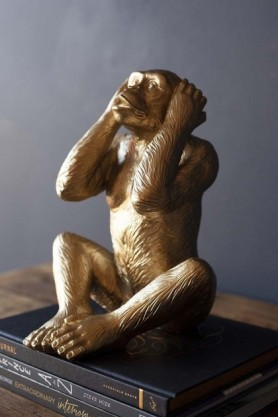 Large Hear No Evil Gold Monkey Ornament