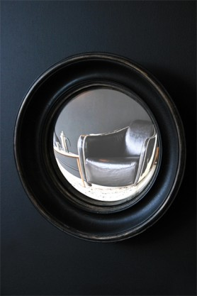 Little Aged Black Convex Mirror