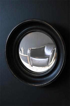 Little Aged Black Convex Mirror