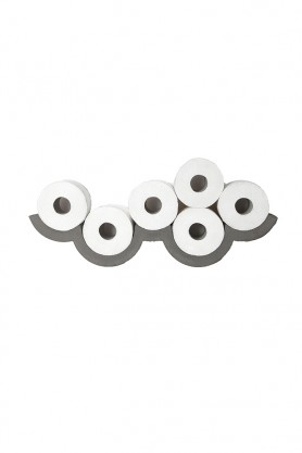 cutout image of Lyon Beton Concrete Cloud Toilet Roll Shelf - Small with toilet rolls in on white background