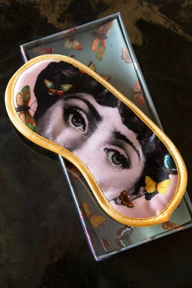 Image of the Mademoiselle Butterfly Eye Mask angled on the presentation box