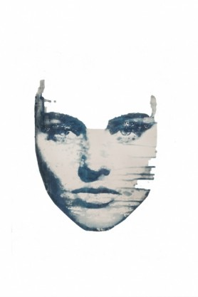 cutout image of Masked 4 Art Print By Amber Devetta blue distressed woman's face