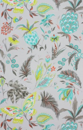 detail image of Matthew Williamson Habanera Wallpaper blue and green toned topical pattern on grey backgrounf