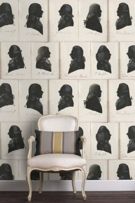 lifestyle image of Mind The Gap Dutch Blauw Collection - Dutch Portraits Wallpaper with white chair and striped cushion