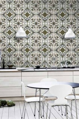 lifestyle image of Mind The Gap Organic Tile Wallpaper with white ceiling lights and chairs around round dining table