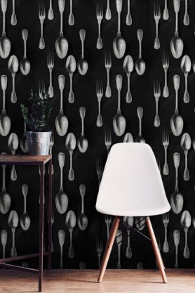 lifestyle image of Mind The Gap The Antiquerian - Cutlery Wallpaper - Silver with white chair and wooden table with plant