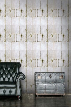 lifestyle image of Mind The Gap The World Of Antiquity - The Swan Wallpaper with dark green leather sofa and grey chest