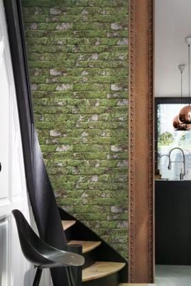 Koziel Moss White Brick Wallpaper