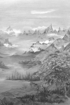 Close-up detail image of the Mountains Wallpaper Mural - Kami Seed black, white and grey snowy mountain scene