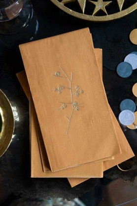 Image of the Pack Of 20 Mustard Gold Paper Napkins With Gold Floral Design