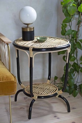 Lifestyle image of the Natural Rattan Two-Tier Side Table