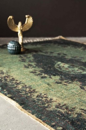 Natural Jute Printed Rug - Emerald Green