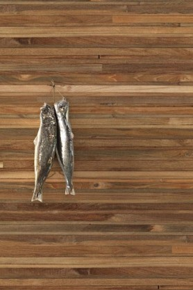 lifestyle image of NLXL TIM-05 Timber Strips Wallpaper by Piet Hein Eek with two silver metal fish ornaments hanging on wall