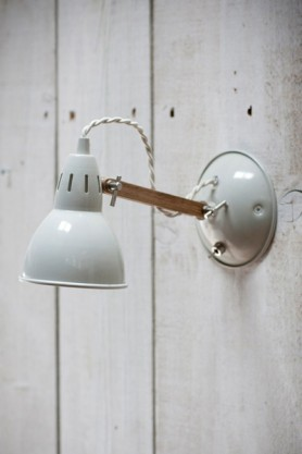 Oak Arm Wall Light in Stone with Switch