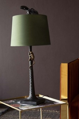 Onyx Palm Tree Table Lamp With Bronze Climbing Monkey