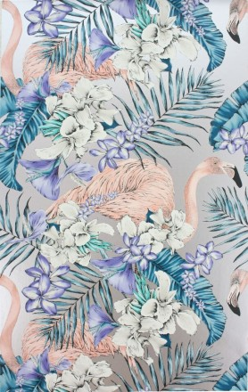 Close-up detail image of the Matthew Williamson Flamingo Club Wallpaper - Jade/Lavender/Coral pink flamingos and blue toned plants on silver background