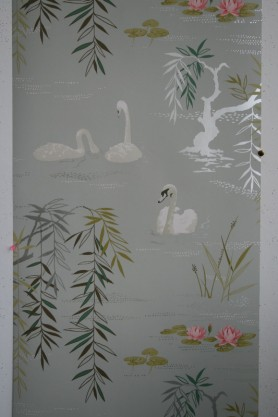 cutout Image of Nina Campbell Swan Lake Wallpaper - Charcoal NCW4020-01 white swans and green pond plants on blue grey background
