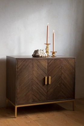 Lifestyle image of the Parquet Style Wooden Sideboard Unit