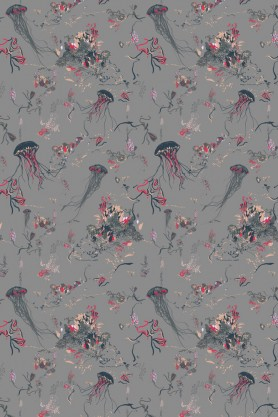 detail image of Jellyfish Wallpaper By 17 Patterns - Grey grey and pink detailed jellyfish on light grey blue toned background