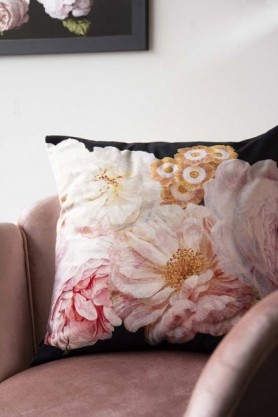 Peach Peony Rose Velvet Cushion