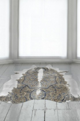 Persian Cowhide in pale room with frosted windows and white wooden floor lifestyle image