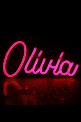 Image of Olivia LED Neon Light in pink switched on