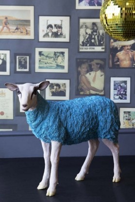 lifestyle image of Pikes At Rockett St George - Blue Party Sheep with picture frame wallpaper and green disco ball