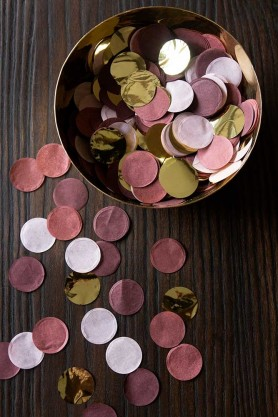 Lifestyle image of the Berry Pink, Dusky Pink & Gold Party Table Confetti