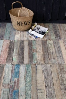 Reclaimed Wood Floor Tiles lifestyle image with basket and magazine