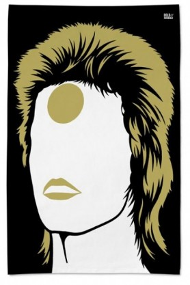 cutout image of Rock Icon Tea Towel - Ziggy Stardust black and gold on white background
