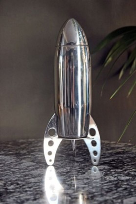 Rocket Cocktail Shaker on marble effect table top with plant in background lifestyle image