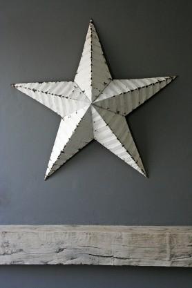 "Vintage Metal Star - 22"" diameter - White"