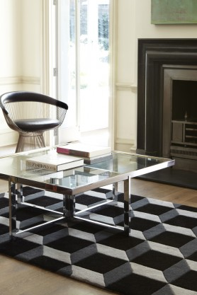 Geometric 100% Wool Rug - Black/Grey 04 - 2 Sizes Available