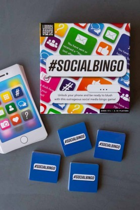 Image of the #SOCIALBINGO Game box and contents