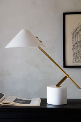 Image of the Adjustable Marble Table Lamp With Cone Shade switched off