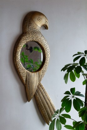 Lifestyle image of the Large Tropical Parrot Mirror