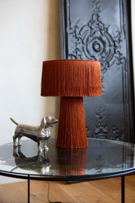 Lifestyle image of the Amber All Over Fringe Table Lamp