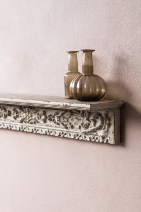 Image of the right side of the Antique White Shelf With Carvings