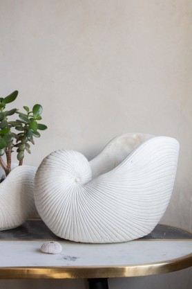 Image of the Large White Sea Shell Planter Display Ornament on a side table