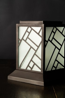 Close-up image of the Art Deco Lantern Design Table Light switched off