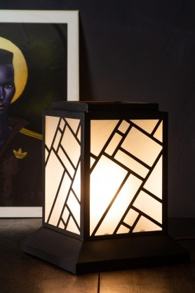 Image of the Art Deco Lantern Design Table Light switched on