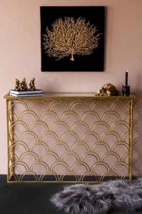 Lifestyle image of the Art Deco Style Mirror Console Table