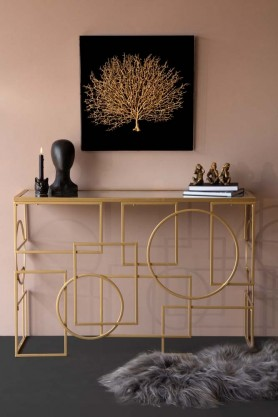Lifestyle image of the Geometric Style Mirror Console Table