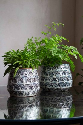 Image of both the Small & the Large versions of the Aztec Stoneware Flower Pot