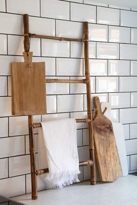 Lifestyle image of the Bamboo Ladder / Towel Rail