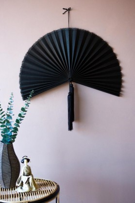 Lifestyle image of the Beautiful Bamboo Fan Wall Hanging