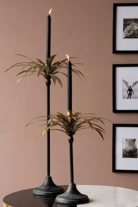 Lifestyle image of the Beautiful Palm Tree Candle Holders