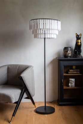 Lifestyle image of the Beautiful Tassel Black & White Floor Lamp