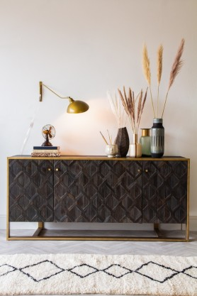 Lifestyle image of the Black & Gold Diamond Weave Sideboard Cabinet