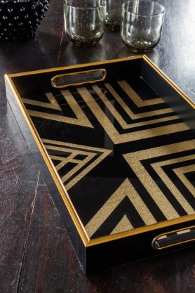 Image of the Black & Gold Square Display Tray